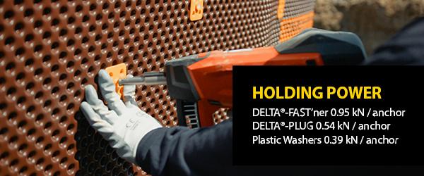 Builder installing DELTA®-FAST'ner and DELTA®-MS dimpled membrane